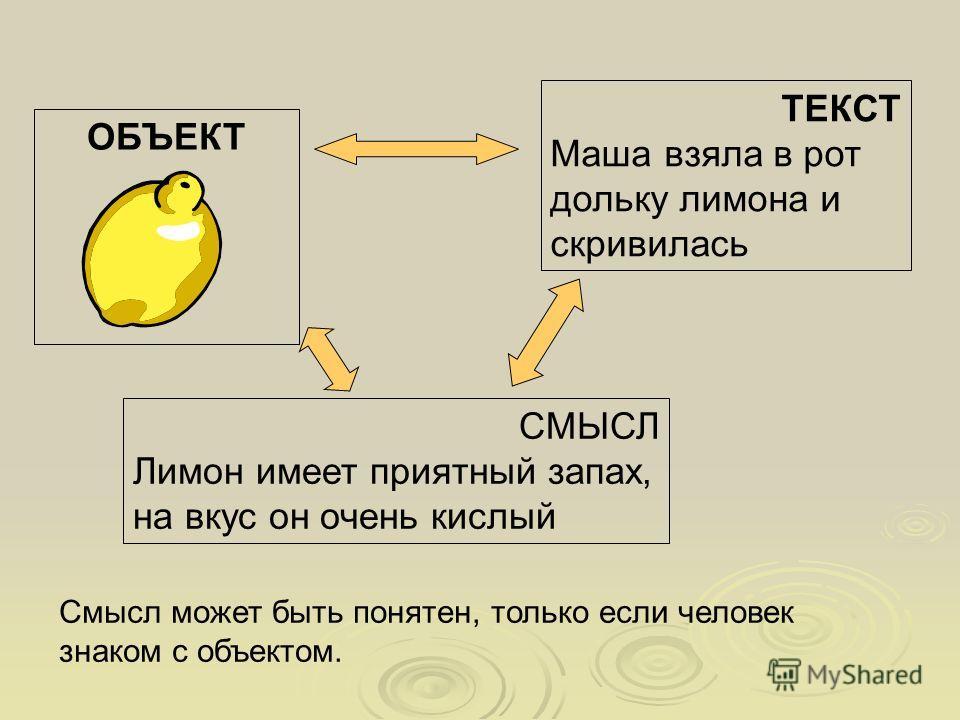 ОБЪЕКТ ТЕКСТ Маша взяла в рот дольку лимона и скривилась СМЫСЛ Лимон имеет приятный запах, на вкус он очень кислый Смысл может быть понятен, только если человек знаком с объектом.