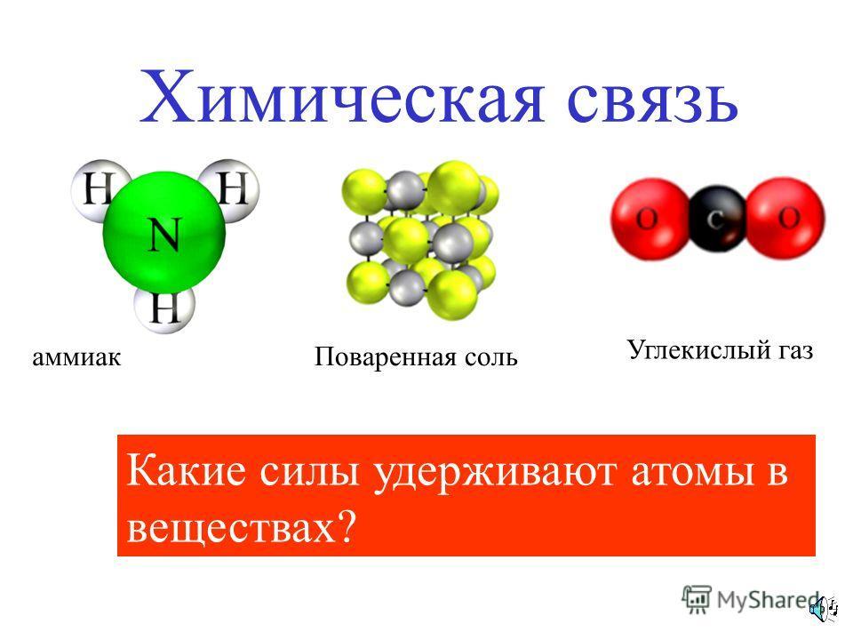 Химическая связь аммиакПоваренная соль Углекислый газ Какие силы удерживают атомы в веществах?