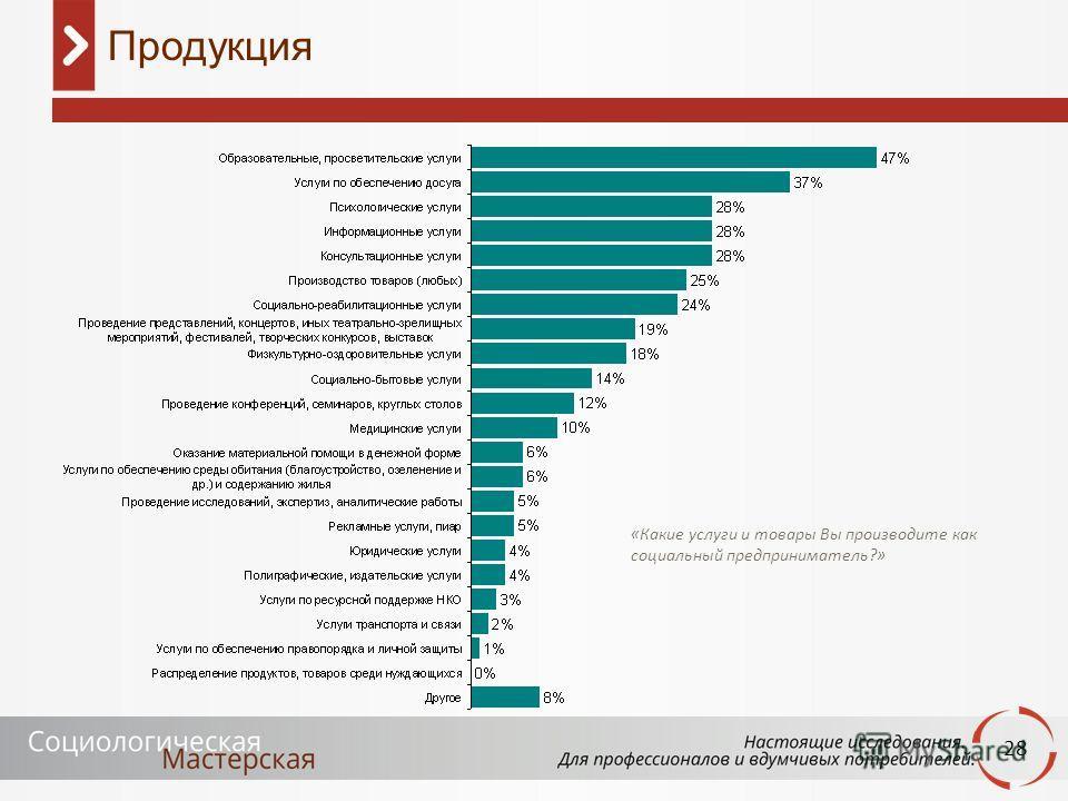 28 Продукция «Какие услуги и товары Вы производите как социальный предприниматель?»