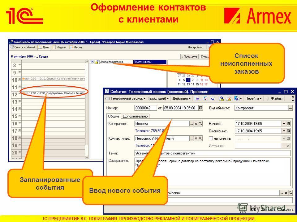 Оформление контактов с клиентами Список неисполненных заказов Запланированные события Ввод нового события