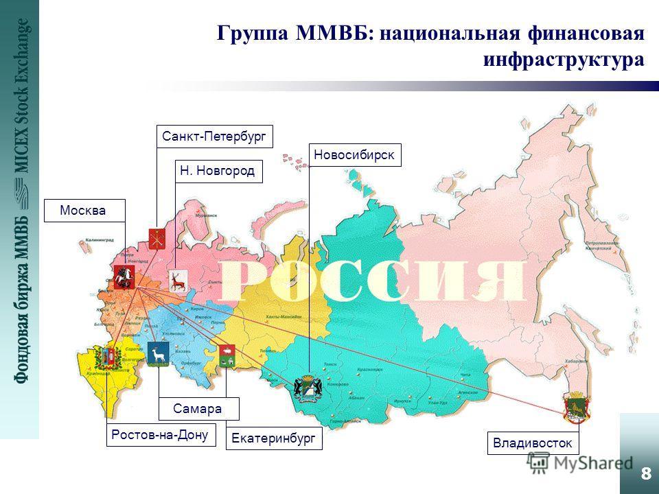 8 Группа ММВБ: национальная финансовая инфраструктура Санкт-Петербург Москва Н. Новгород Новосибирск Ростов-на-Дону Екатеринбург Владивосток Самара