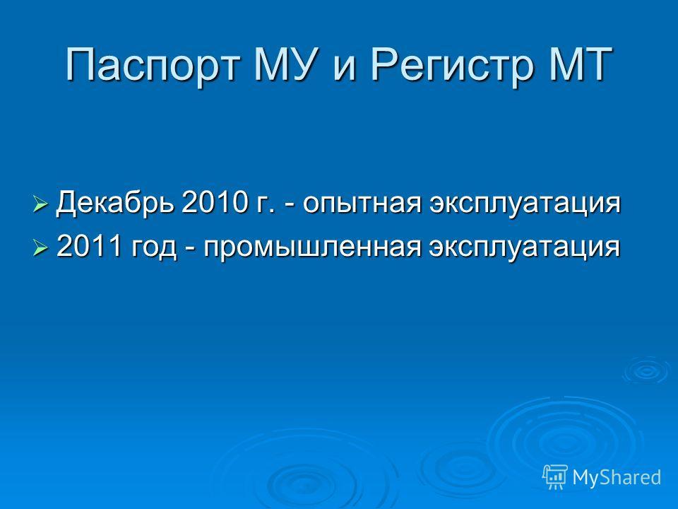 Паспорт МУ и Регистр МТ Декабрь 2010 г. - опытная эксплуатация Декабрь 2010 г. - опытная эксплуатация 2011 год - промышленная эксплуатация 2011 год - промышленная эксплуатация