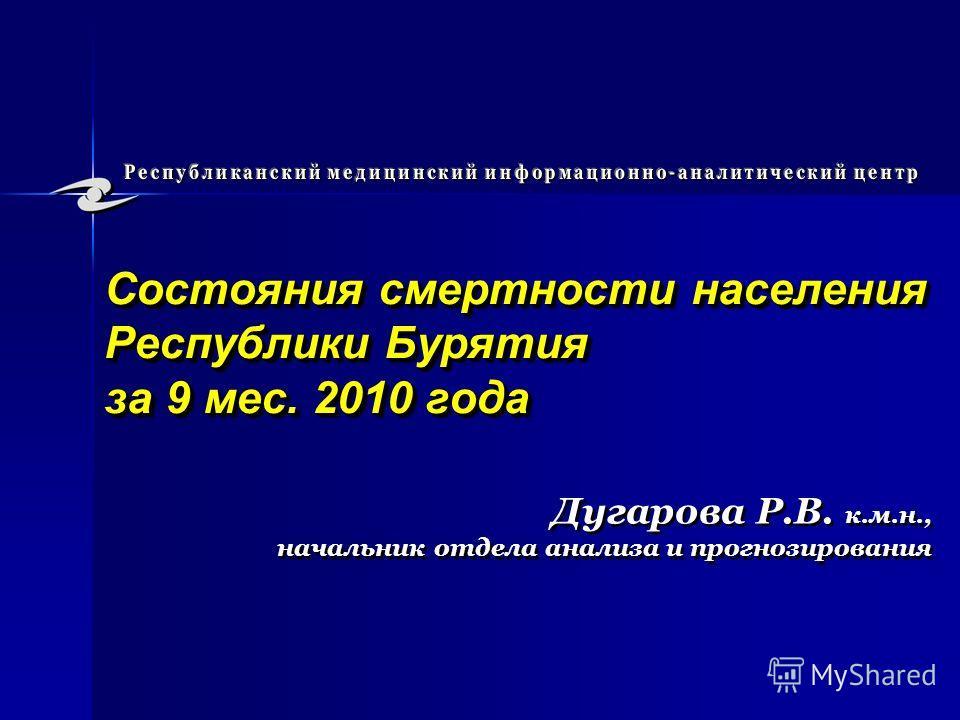 Состояния смертности населения Республики Бурятия за 9 мес. 2010 года Дугарова Р.В. к.м.н., начальник отдела анализа и прогнозирования Дугарова Р.В. к.м.н., начальник отдела анализа и прогнозирования