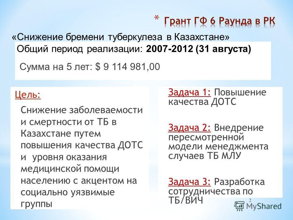 Сумма на 5 лет: $ 9 114 981,00 Цель: Снижение заболеваемости и смертности от ТБ в Казахстане путем повышения качества ДОТС и уровня оказания медицинской помощи населению с акцентом на социально уязвимые группы 2 Задача 1: Повышение качества ДОТС Зада