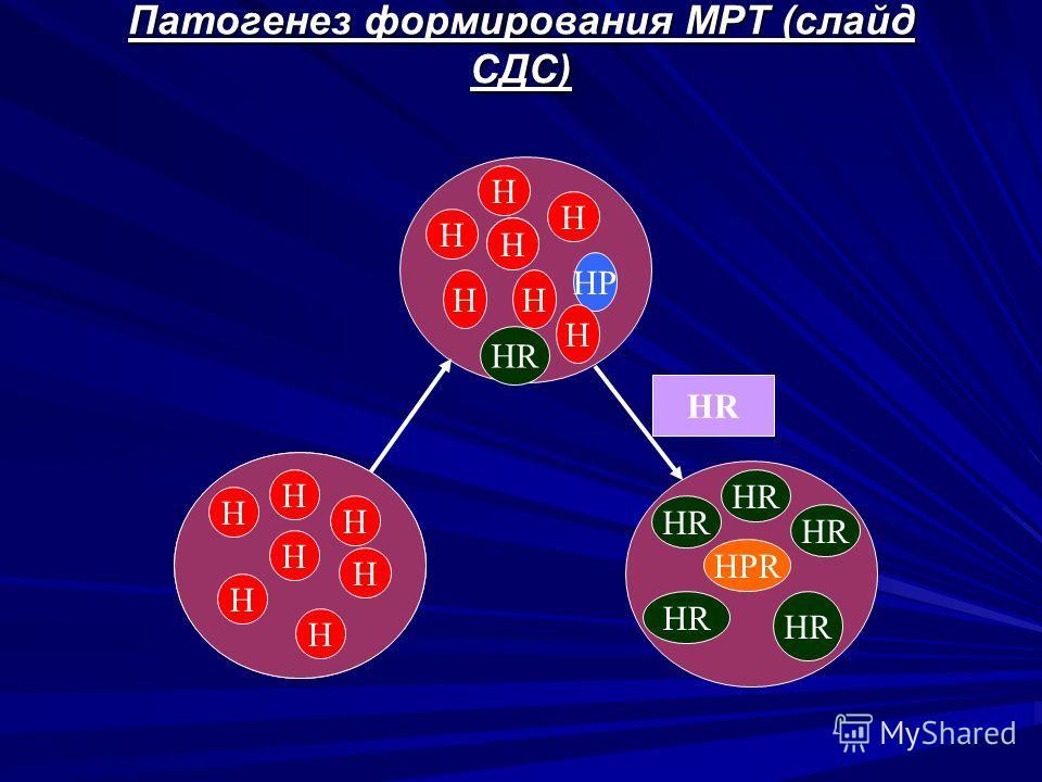 Патогенез формирования МРТ (слайд СДС) H H H H H H H H H H H HP H HH HR H HPR HR
