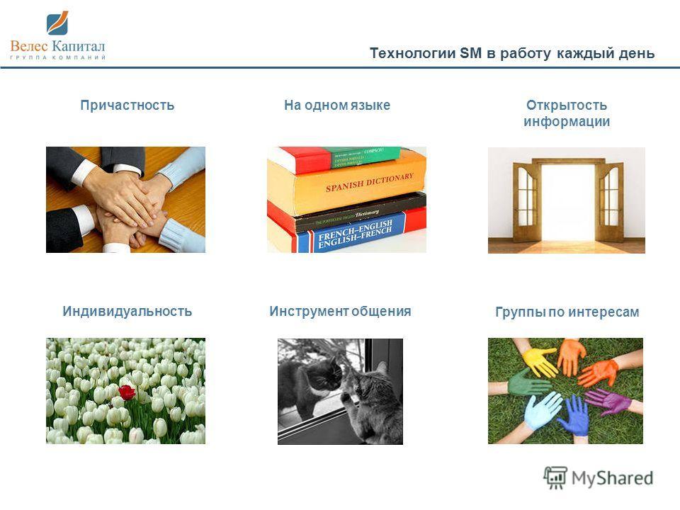 Технологии SM в работу каждый день ПричастностьНа одном языкеОткрытость информации Индивидуальность Группы по интересам Инструмент общения