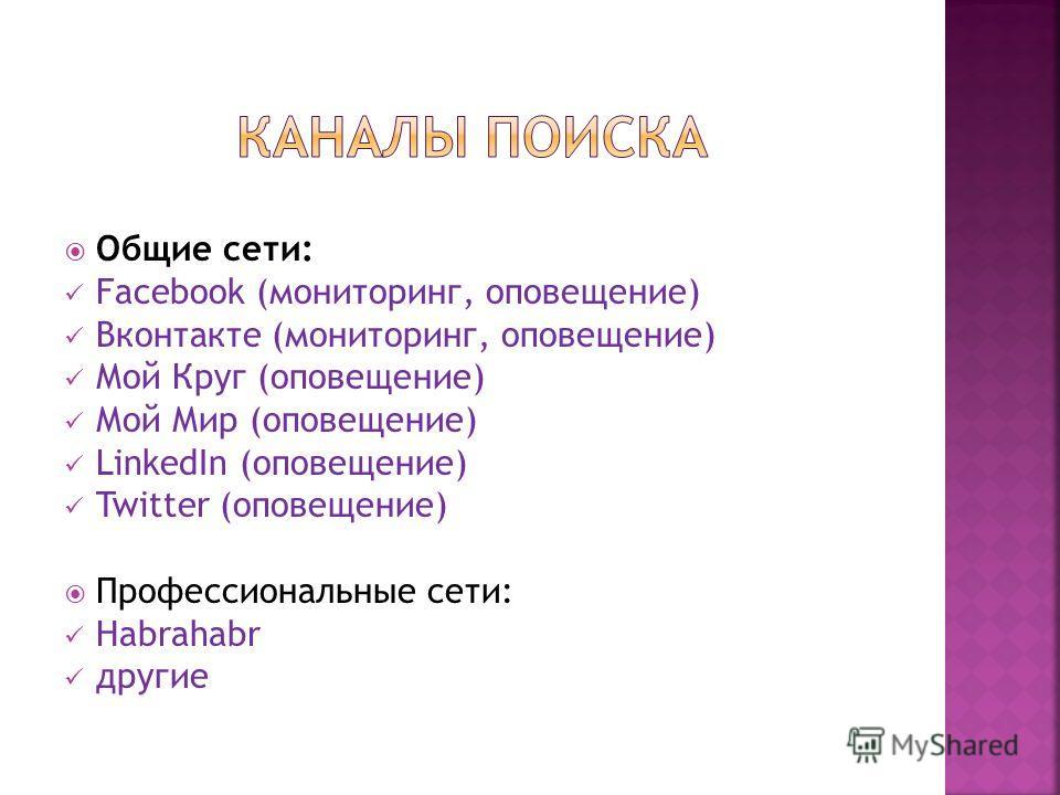 Общие сети: Facebook (мониторинг, оповещение) Вконтакте (мониторинг, оповещение) Мой Круг (оповещение) Мой Мир (оповещение) LinkedIn (оповещение) Twitter (оповещение) Профессиональные сети: Habrahabr другие