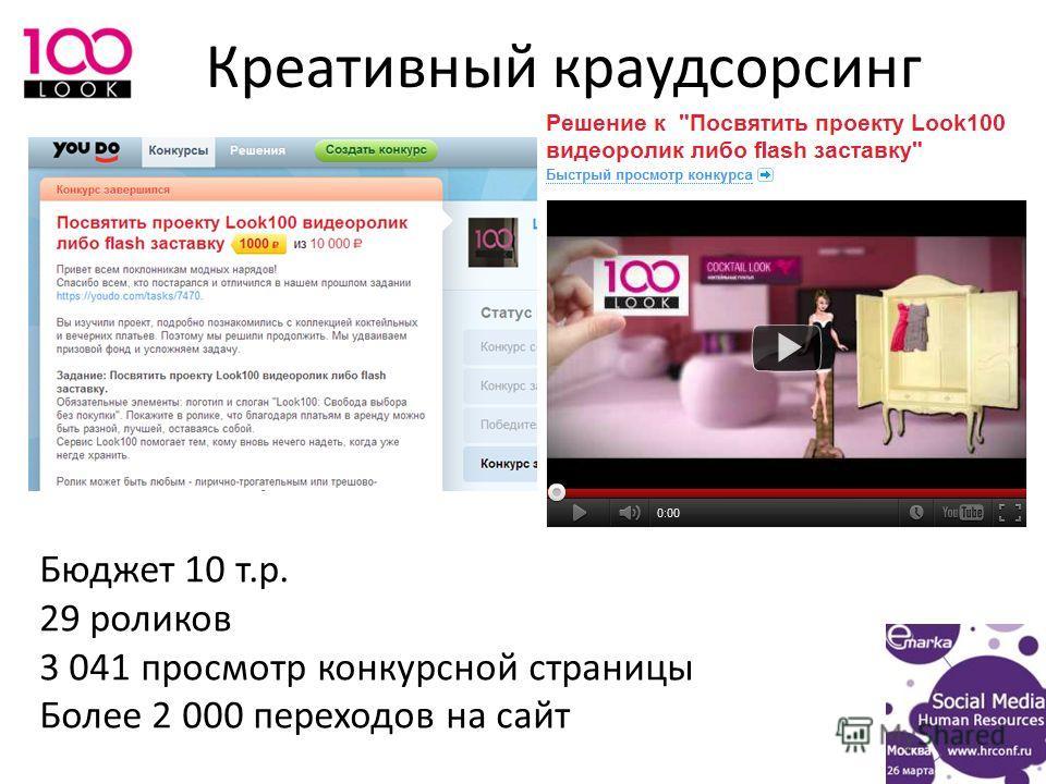 Креативный краудсорсинг Бюджет 10 т.р. 29 роликов 3 041 просмотр конкурсной страницы Более 2 000 переходов на сайт