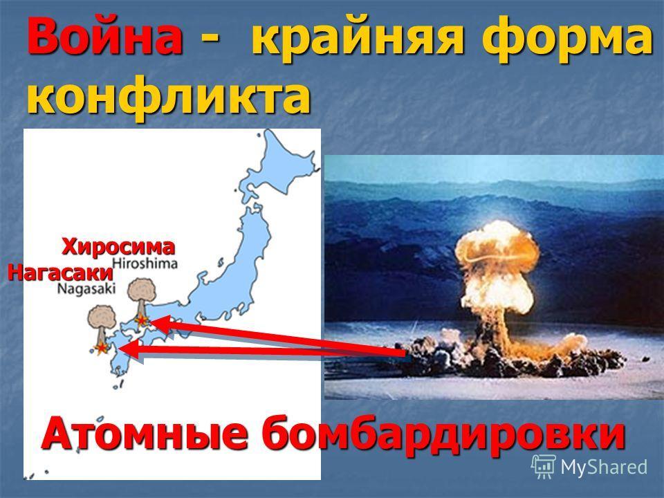 Война - крайняя форма конфликта Атомныебомбардировки Атомные бомбардировки Нагасаки Хиросима