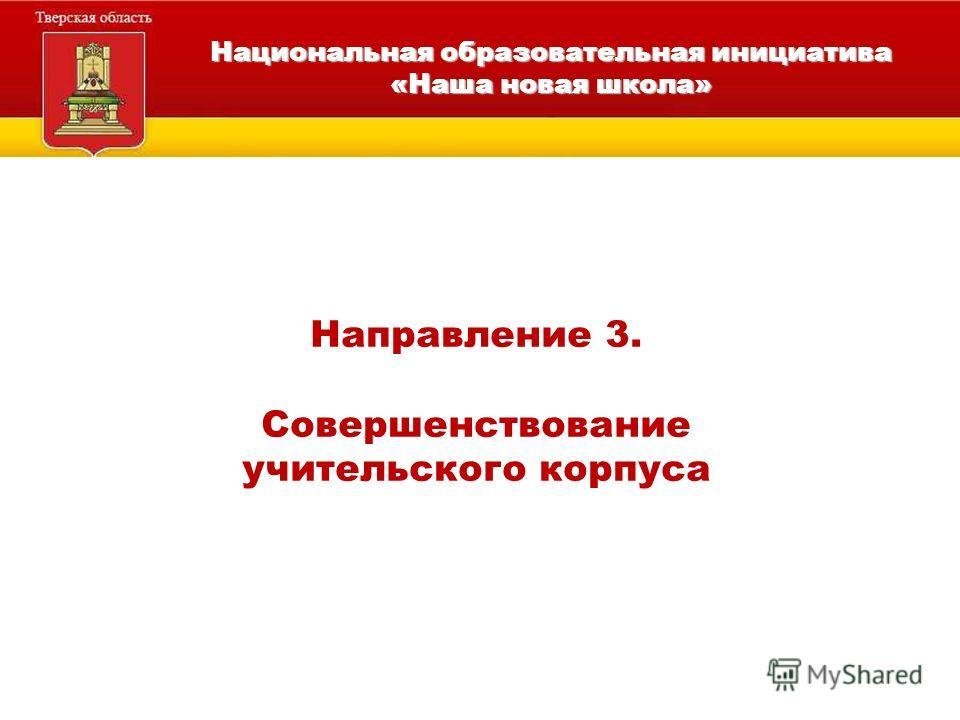Национальная образовательная инициатива «Наша новая школа» Направление 3. Совершенствование учительского корпуса