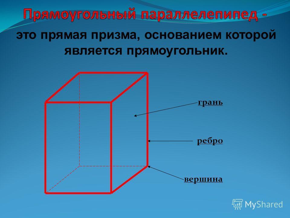 грань ребро вершина это прямая призма, основанием которой является прямоугольник.
