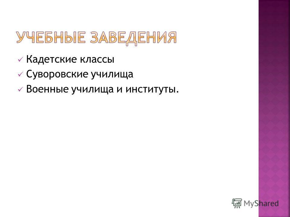 Кадетские классы Суворовские училища Военные училища и институты.