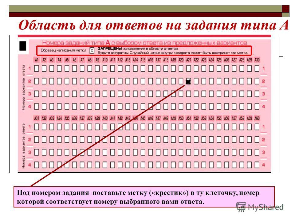 Область для ответов на задания типа А Под номером задания поставьте метку («крестик») в ту клеточку, номер которой соответствует номеру выбранного вами ответа.