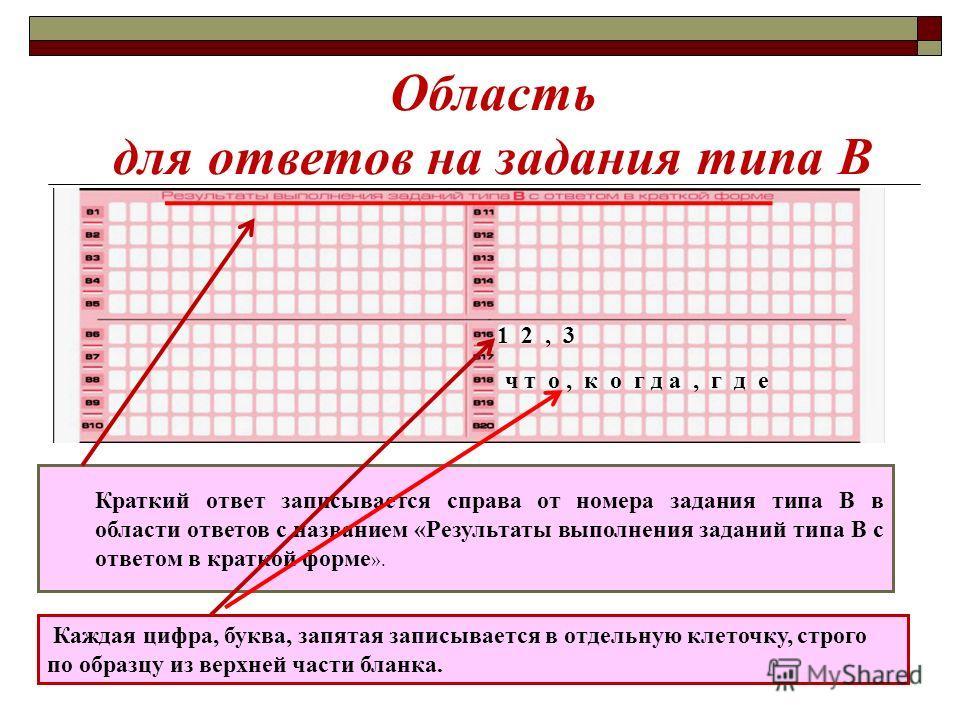 Область для ответов на задания типа В Краткий ответ записывается справа от номера задания типа В в области ответов с названием «Результаты выполнения заданий типа В с ответом в краткой форме ». Каждая цифра, буква, запятая записывается в отдельную кл
