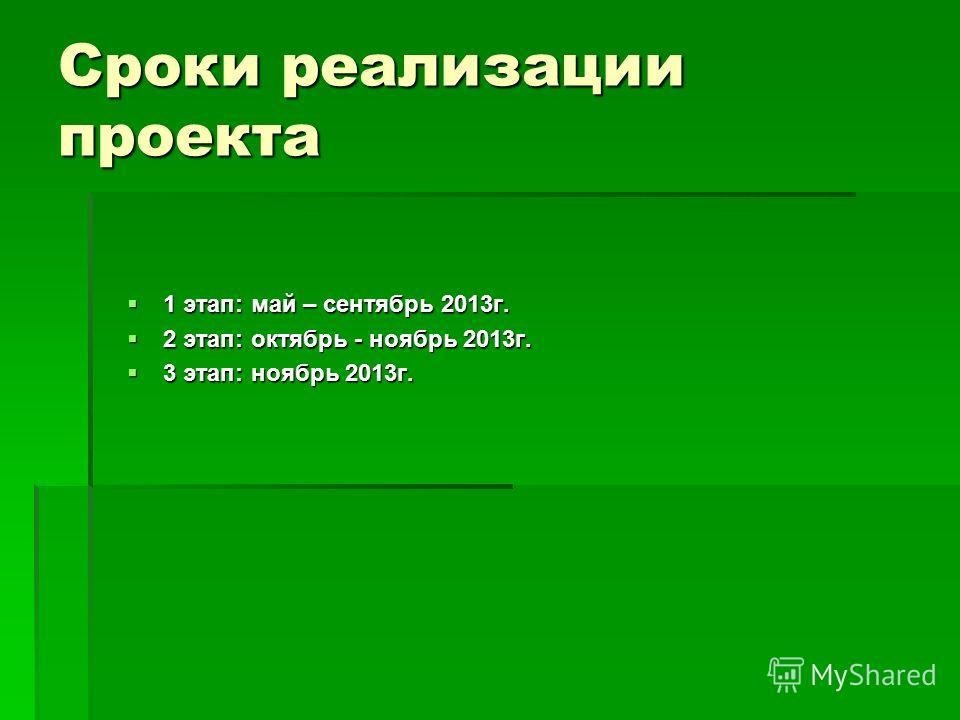 Сроки реализации проекта 1 этап: май – сентябрь 2013г. 1 этап: май – сентябрь 2013г. 2 этап: октябрь - ноябрь 2013г. 2 этап: октябрь - ноябрь 2013г. 3 этап: ноябрь 2013г. 3 этап: ноябрь 2013г.