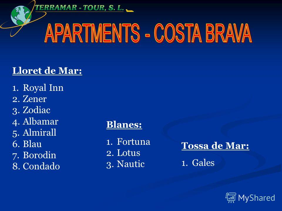 Lloret de Mar: 1.Royal Inn 2.Zener 3.Zodiac 4.Albamar 5.Almirall 6.Blau 7.Borodin 8.Condado Blanes: 1.Fortuna 2.Lotus 3.Nautic Tossa de Mar: 1.Gales