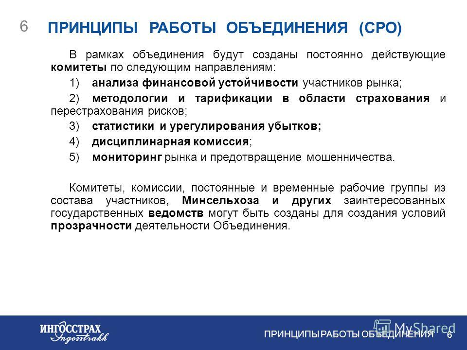 5 5 ИДЕОЛОГИЯ ДЕЯТЕЛЬНОСТИ САМОРЕГУЛИРУЕМОЙ ОРГАНИЗАЦИИ ИДЕОЛОГИЯ ДЕЯТЕЛЬНОСТИ СРО Сегодня ведущие страховщики в состоянии осуществлять единую политику в области саморегулирования своей деятельности. Внутренних ресурсов ведущих российских компаний до