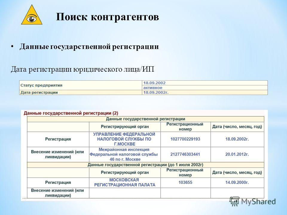 Поиск контрагентов Данные государственной регистрации Дата регистрации юридического лица/ИП