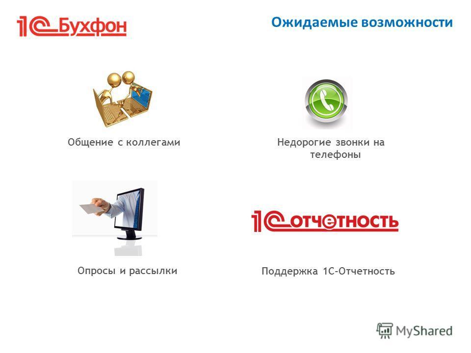 Общение с коллегамиНедорогие звонки на телефоны Ожидаемые возможности Опросы и рассылки Поддержка 1С-Отчетность