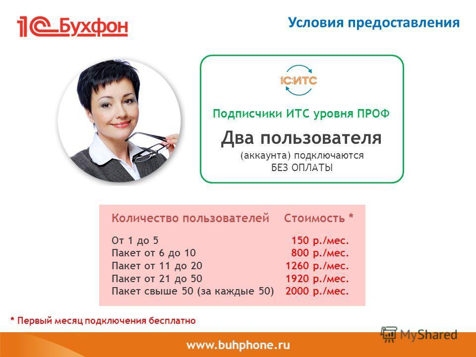 www.buhphone.ru Условия предоставления Подписчики ИТС уровня ПРОФ Два пользователя (аккаунта) подключаются БЕЗ ОПЛАТЫ 150 р./мес. 800 р./мес. 1260 р./мес. 1920 р./мес. 2000 р./мес. От 1 до 5 Пакет от 6 до 10 Пакет от 11 до 20 Пакет от 21 до 50 Пакет