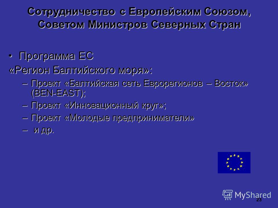 23 Сотрудничество с Европейским Союзом, Советом Министров Северных Стран Программа ЕСПрограмма ЕС «Регион Балтийского моря»: –Проект «Балтийская сеть Еврорегионов – Восток» (BEN-EAST); –Проект «Инновационный круг»; –Проект «Молодые предприниматели» –