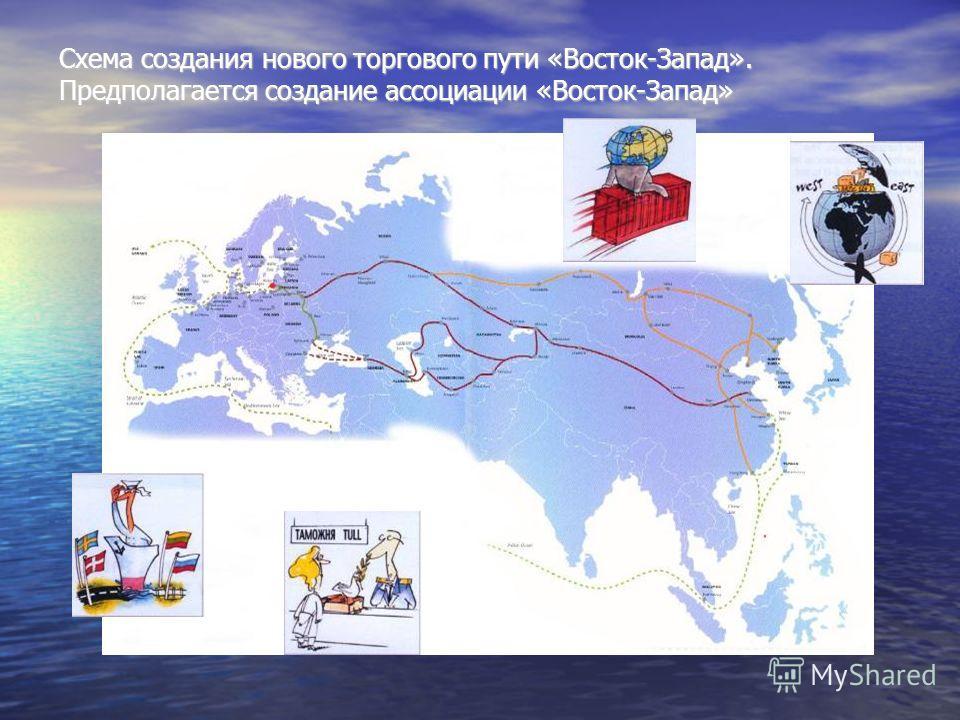 Схема создания нового торгового пути «Восток-Запад». Предполагается создание ассоциации «Восток-Запад»