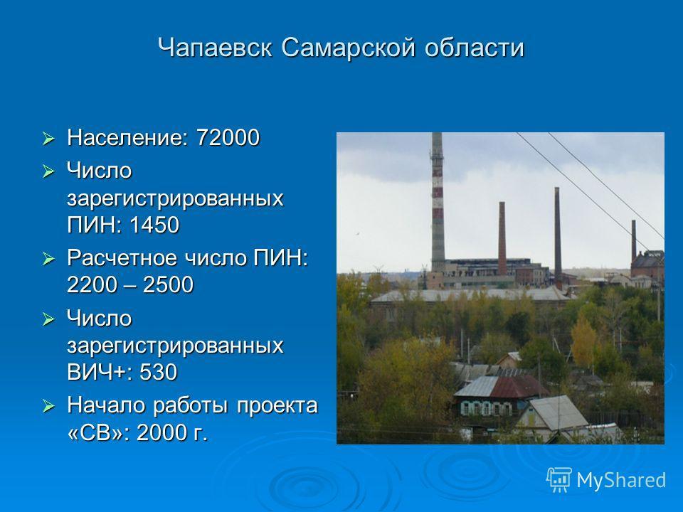 Чапаевск Самарской области Население: 72000 Население: 72000 Число зарегистрированных ПИН: 1450 Число зарегистрированных ПИН: 1450 Расчетное число ПИН: 2200 – 2500 Расчетное число ПИН: 2200 – 2500 Число зарегистрированных ВИЧ+: 530 Число зарегистриро