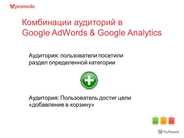 Комбинации аудиторий в Google AdWords & Google Analytics Аудитория: пользователи посетили раздел определенной категории Аудитория: Пользователь достиг цели «добавление в корзину»