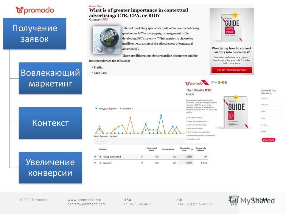 © 2013 Promodowww.promodo.com contact@promodo.com UK +44 (0203) 137-66-81 9 of 14 USA +1 347 809-34-86 Получение заявок Вовлекающий маркетинг Контекст Увеличение конверсии