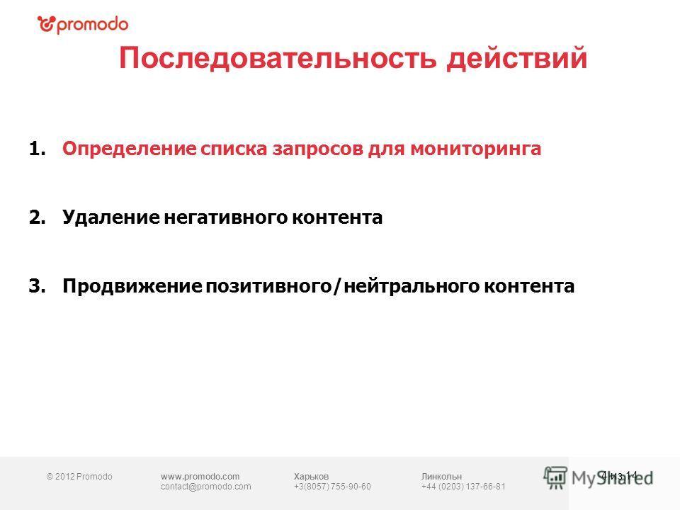 © 2012 Promodowww.promodo.com contact@promodo.com Харьков +3(8057) 755-90-60 Линкольн +44 (0203) 137-66-81 Последовательность действий 4 из 14 1.Определение списка запросов для мониторинга 2.Удаление негативного контента 3.Продвижение позитивного/ней