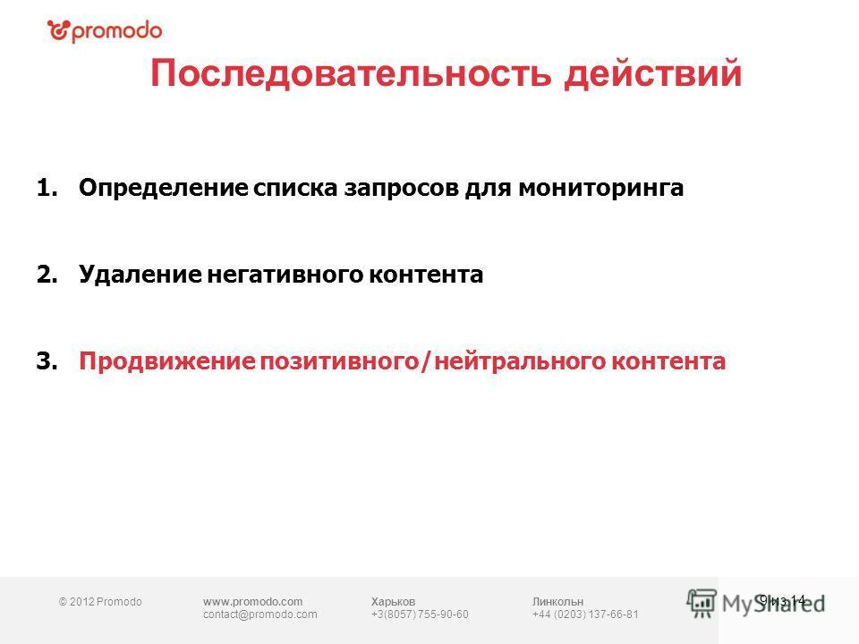 © 2012 Promodowww.promodo.com contact@promodo.com Харьков +3(8057) 755-90-60 Линкольн +44 (0203) 137-66-81 Последовательность действий 9 из 14 1.Определение списка запросов для мониторинга 2.Удаление негативного контента 3.Продвижение позитивного/ней