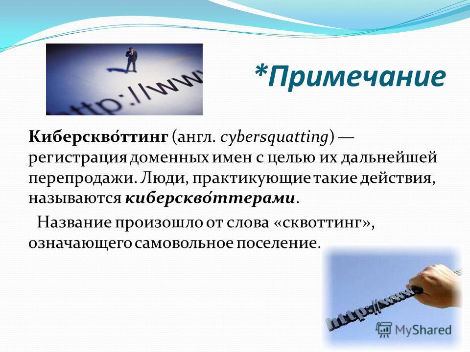 *Примечание Киберскво́ттинг (англ. cybersquatting) регистрация доменных имен с целью их дальнейшей перепродажи. Люди, практикующие такие действия, называются киберскво́ттерами. Название произошло от слова «сквоттинг», означающего самовольное поселени