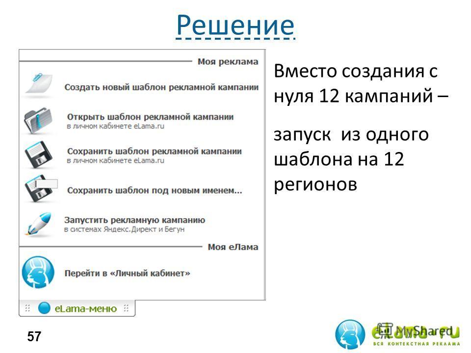 Решение Трудоемко Долго 57 Вместо создания с нуля 12 кампаний – запуск из одного шаблона на 12 регионов
