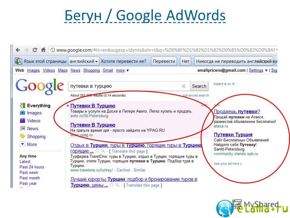 Бегун / Google AdWords