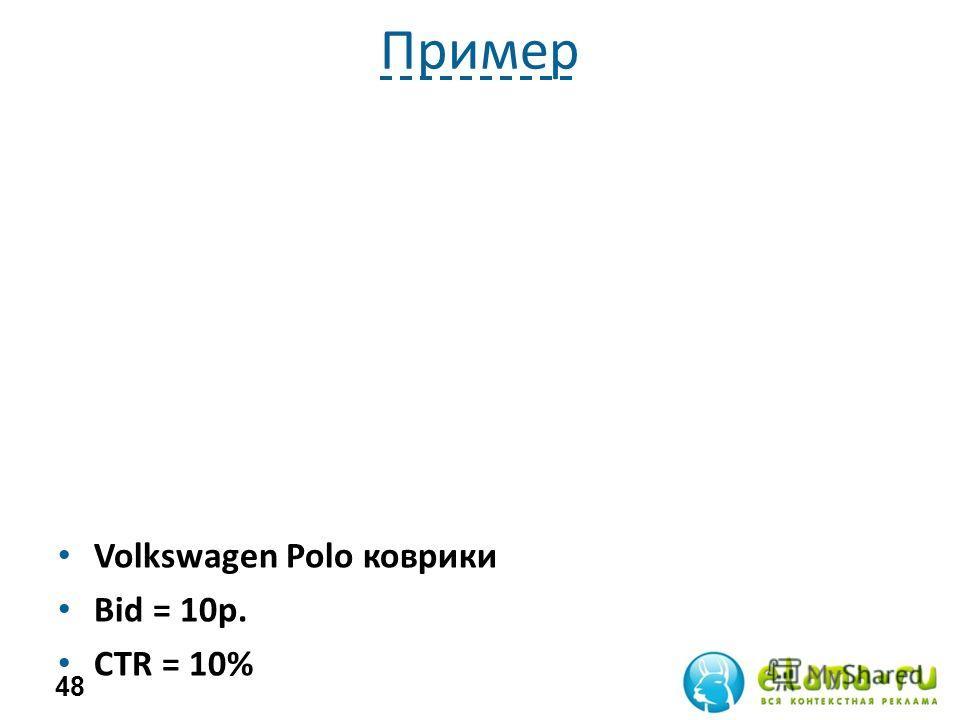 Пример Volkswagen Polo коврики Bid = 10р. СTR = 10% 48
