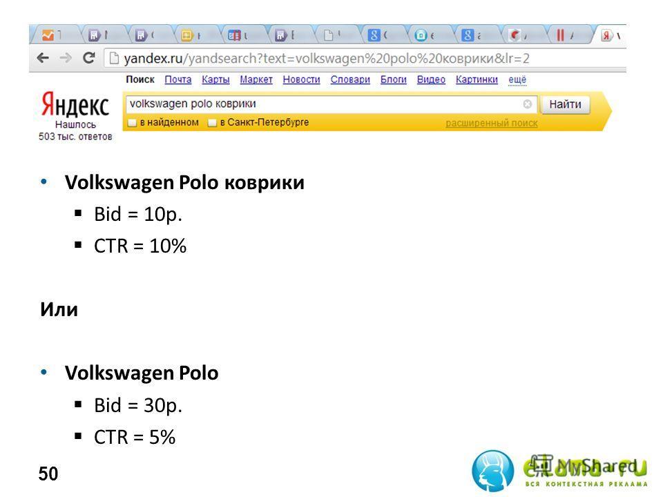 Volkswagen Polo коврики Bid = 10р. СTR = 10% Или Volkswagen Polo Bid = 30р. СTR = 5% 50