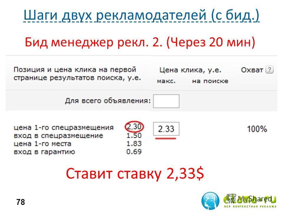 Шаги двух рекламодателей (с бид.) 78 Бид менеджер рекл. 2. (Через 20 мин) Ставит ставку 2,33$