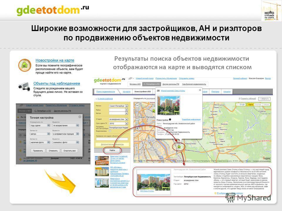 Результаты поиска объектов недвижимости отображаются на карте и выводятся списком Широкие возможности для застройщиков, АН и риэлторов по продвижению объектов недвижимости