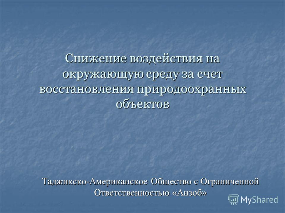 Снижение воздействия на окружающую среду за счет восстановления природоохранных объектов Таджикско-Американское Общество с Ограниченной Ответственностью «Анзоб»