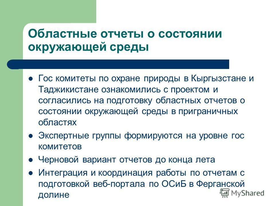 Областные отчеты о состоянии окружающей среды Гос комитеты по охране природы в Кыргызстане и Таджикистане ознакомились с проектом и согласились на подготовку областных отчетов о состоянии окружающей среды в приграничных областях Экспертные группы фор