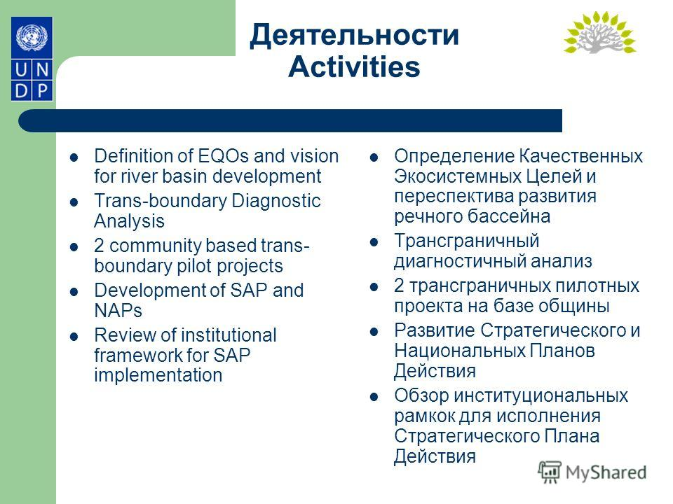 Деятельности Activities Definition of EQOs and vision for river basin development Trans-boundary Diagnostic Analysis 2 community based trans- boundary pilot projects Development of SAP and NAPs Review of institutional framework for SAP implementation
