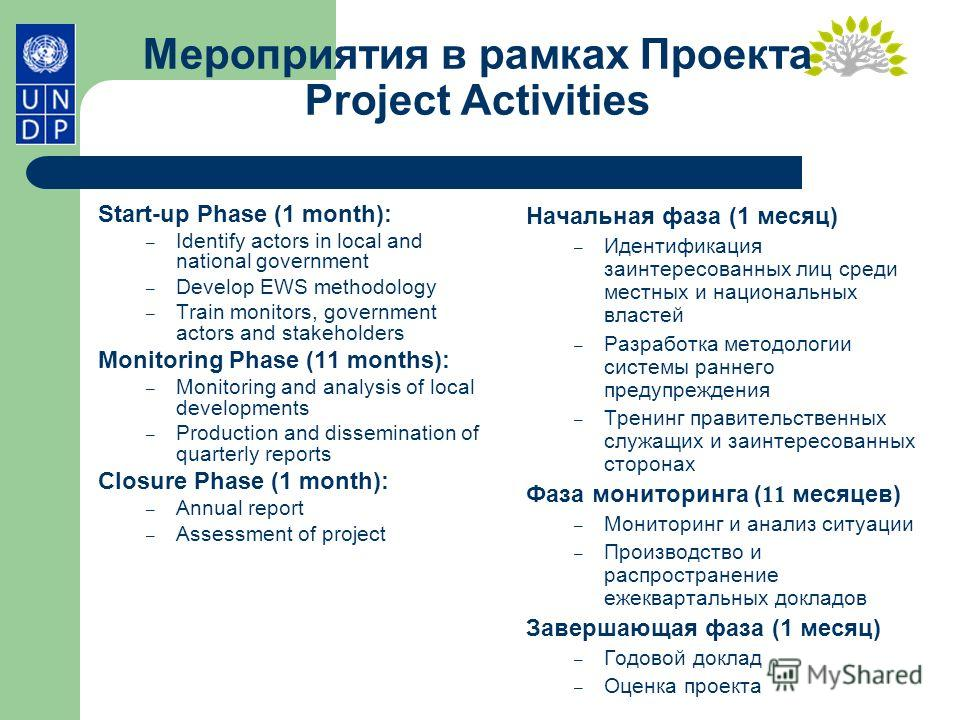 Мероприятия в рамках Проекта Project Activities Start-up Phase (1 month): – Identify actors in local and national government – Develop EWS methodology – Train monitors, government actors and stakeholders Monitoring Phase (11 months): – Monitoring and