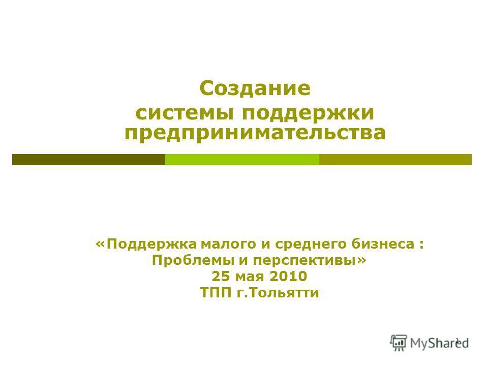 1 Создание системы поддержки предпринимательства «Поддержка малого и среднего бизнеса : Проблемы и перспективы» 25 мая 2010 ТПП г.Тольятти