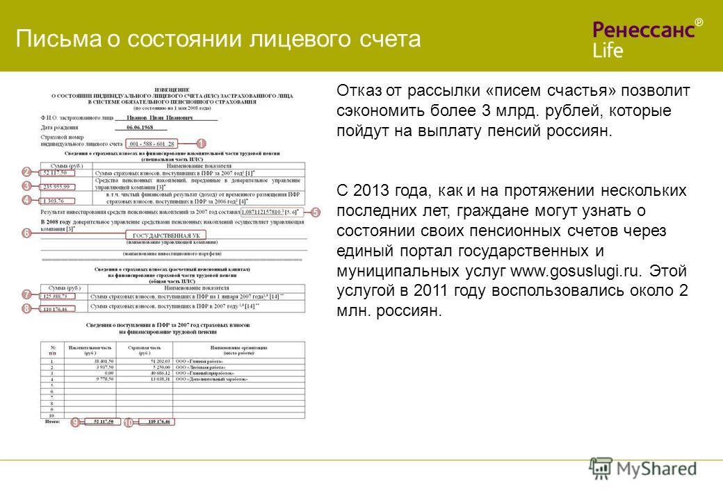 Письма о состоянии лицевого счета Отказ от рассылки «писем счастья» позволит сэкономить более 3 млрд. рублей, которые пойдут на выплату пенсий россиян. С 2013 года, как и на протяжении нескольких последних лет, граждане могут узнать о состоянии своих