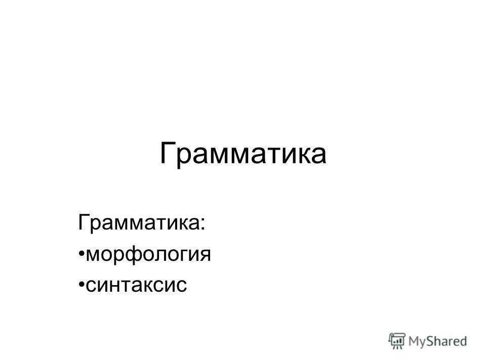 Грамматика Грамматика: морфология синтаксис