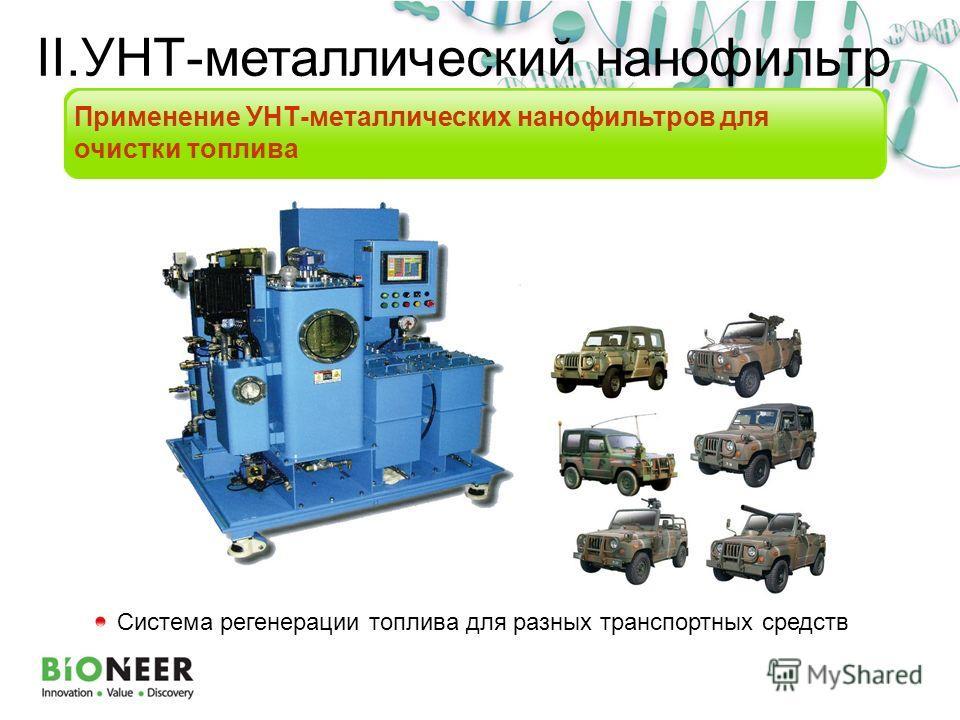 Система регенерации топлива для разных транспортных средств Применение УНТ-металлических нанофильтров для очистки топлива II.УНТ-металлический нанофильтр