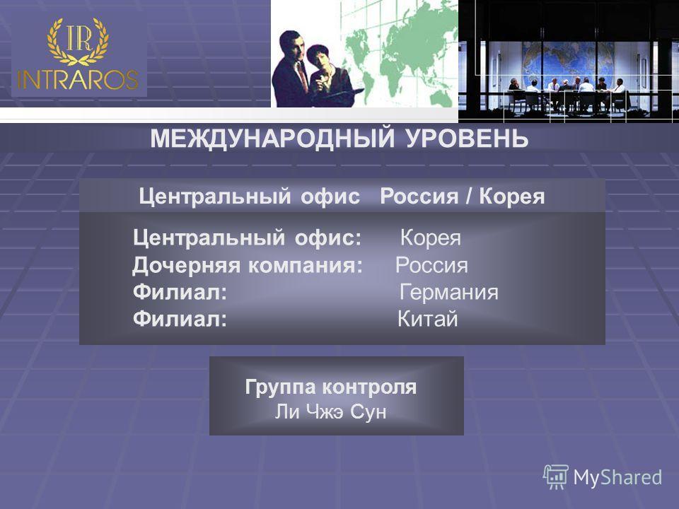 МЕЖДУНАРОДНЫЙ УРОВЕНЬ Центральный офис: Корея Дочерняя компания: Россия Филиал: Германия Филиал: Китай Центральный офис Россия / Корея Группа контроля Ли Чжэ Сун