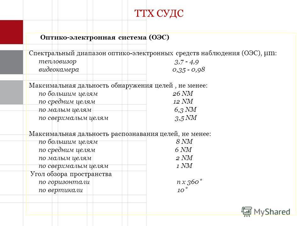 ТТХ СУДС Оптико-электронная система (ОЭС) Спектральный диапазон оптико-электронных средств наблюдения (ОЭС), μm : тепловизор 3,7 - 4,9 видеокамера 0,35 - 0,98 Максимальная дальность обнаружения целей, не менее: по большим целям 26 NM по средним целям