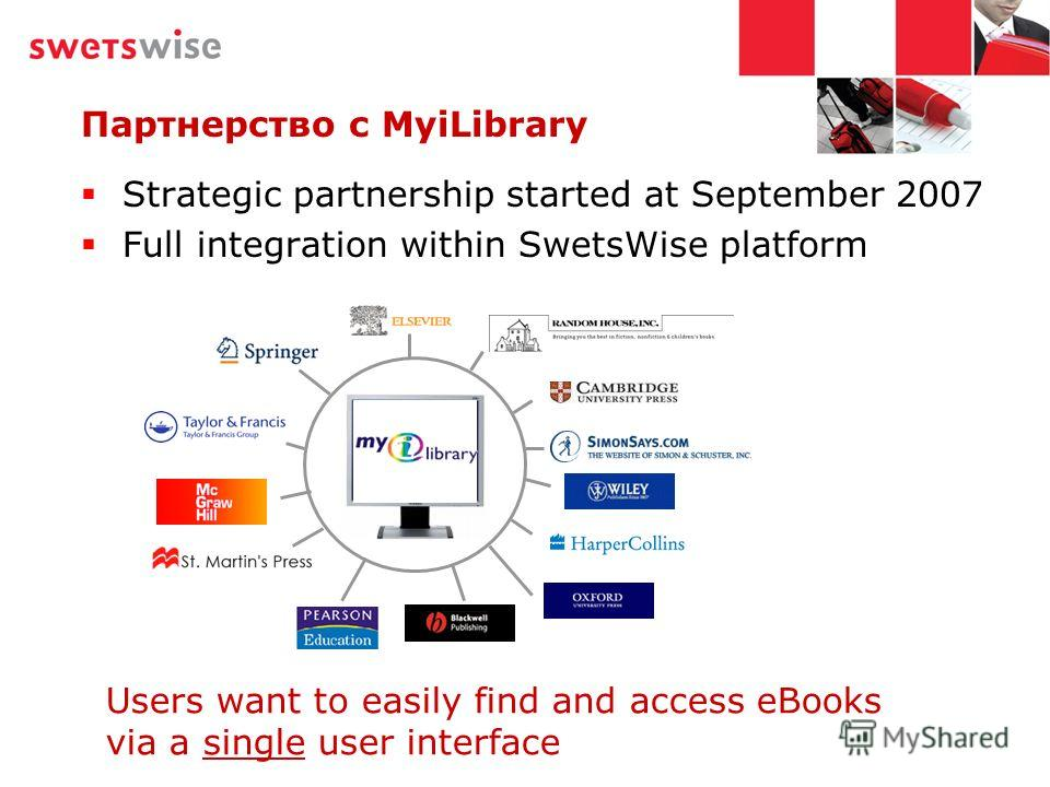 Strategic partnership started at September 2007 Full integration within SwetsWise platform Партнерство с MyiLibrary Users want to easily find and access eBooks via a single user interface