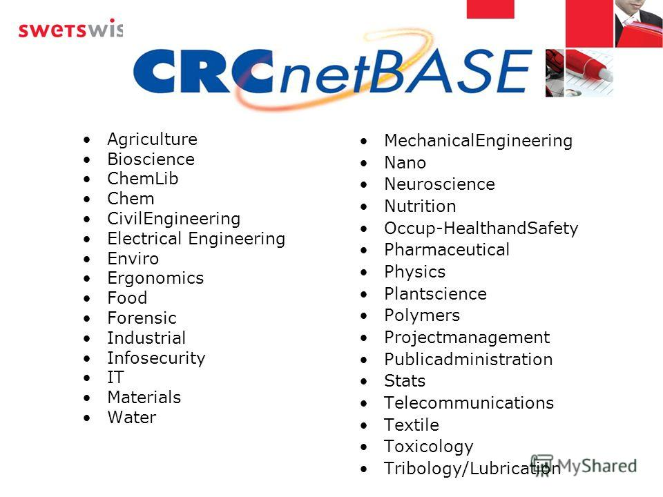 Agriculture Bioscience ChemLib Chem CivilEngineering Electrical Engineering Enviro Ergonomics Food Forensic Industrial Infosecurity IT Materials Water MechanicalEngineering Nano Neuroscience Nutrition Occup-HealthandSafety Pharmaceutical Physics Plan